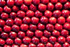 Fresh cherries are stapled in pattern Stock Photo