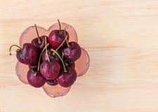 Fresh cherries. On tray wood Stock Photos