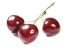 Fresh cherries on white Royalty Free Stock Images