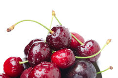 Fresh cherries on a white background, close-up selective focus Stock Images