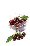 Fresh cherries on a white background. Royalty Free Stock Photo