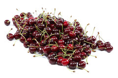 Fresh cherries on a white background. Stock Photo