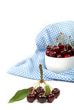 Fresh cherries on a white background. Stock Images