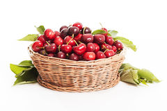 Fresh Cherries on a white background Stock Image