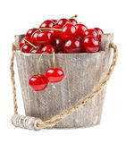 Fresh cherries in a wood bucket. Fresh cherries with water drops in a wood bucket Stock Photography