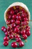 Fresh cherries on wood Stock Photos