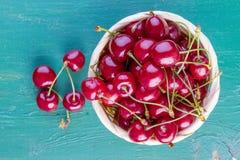 Fresh cherries on wood Stock Images