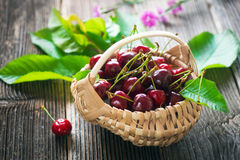 Fresh Cherries on Wooden Table Royalty Free Stock Photos
