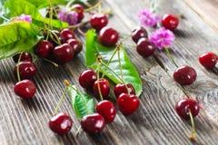 Fresh Cherries on Wooden Table Stock Photo