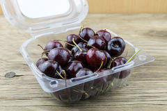 Fresh cherries on wooden table.Selective focus. Royalty Free Stock Image