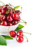 Fresh cherry berries with green leaf Royalty Free Stock Photo
