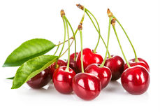 Fresh cherry berries with green leaf Royalty Free Stock Photos