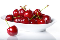 Fresh cherry berries in a plate Stock Image