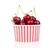 Fresh cherry berries in striped bucket Royalty Free Stock Photo