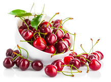 Free Fresh Cherry Berries With Green Leaf Stock Photography - 55183652