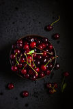 Fresh cherry in black bowl Royalty Free Stock Photography