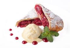 Fresh cherry  cake with ice cream Stock Photography
