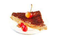 Fresh cherry and cheese cake Royalty Free Stock Image