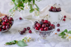 Fresh cherry fruit in glass vase, other dishes with berries and jar with jasmine and wildflowers on the light marble table. Soft s. Elective focus. Summer royalty free stock image
