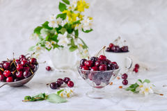 Fresh cherry fruit in glass vase, other dishes with berries and jar with jasmine and wildflowers on the light marble table. Soft s. Elective focus. Summer royalty free stock photography