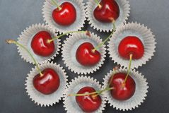 Fresh Cherry Fruit Health Vitamine in Cooking Bakery Cupcake Paper. Black Background Copy Space. Fresh Cherry Fruit Health Vitamine in Cooking Bakery Cupcake stock photography