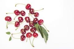 Fresh Cherry fruit on white stock image