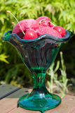 Fresh cherry ice-cream scoops in glass cone, summer vacation con Stock Photography