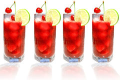 Fresh cherry juice. With ice with a slice of lemon and cherry Royalty Free Stock Images