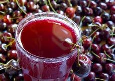 Fresh cherry juice stock image