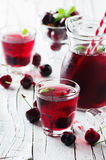Fresh cherry juice with ice. Selective focus Royalty Free Stock Image
