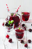 Fresh cherry juice with ice. Selective focus Royalty Free Stock Photo