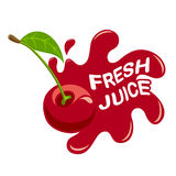 Fresh cherry juice. Logo of fresh juice.   illustration Royalty Free Stock Photos
