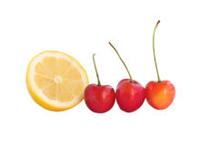 Fresh cherry with lemon Royalty Free Stock Images