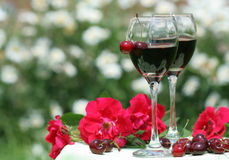 Fresh cherry and red wine Royalty Free Stock Photos