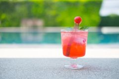 Fresh cherry in sparkling water. Royalty Free Stock Photography