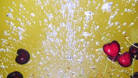 A fresh cherry are splashing into water on yellow background. Many cherry are falling into water against yellow background. A fresh cherry are splashing into stock video