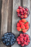 Fresh cherry, strawberry, blueberry and raspberry Stock Images