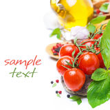 Fresh Cherry Tomatoes, Basil And Spices, Isolated Stock Image