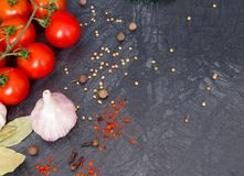Fresh cherry tomatoes on black background with onion and garlic. Top view with copy space Royalty Free Stock Images