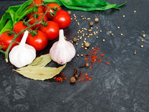 Fresh cherry tomatoes on black background with onion and garlic. Top view with copy space Stock Images