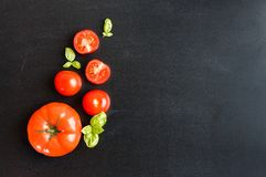 Fresh cherry tomatoes on a black chalkboard background with herb Royalty Free Stock Photo