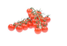 Fresh cherry tomatoes. Twig of fresh cherry tomatoes  on a white background Stock Photo
