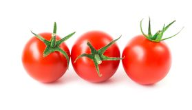 Fresh cherry tomatoes on white background, raw food and vegetabl. E Royalty Free Stock Image