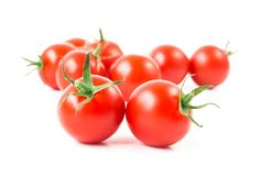 Fresh cherry tomatoes on white background, raw food and vegetabl. E Royalty Free Stock Images