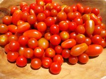 Fresh cherry tomatoes in a wooden bowl Royalty Free Stock Images