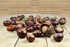 Fresh Chestnuts from an Autumn Harvest  on an Old Rustic Wooden Table with Leaves Stock Photo