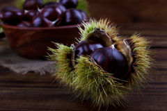 Fresh chestnuts in a bowl Stock Photos