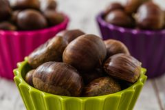 Fresh Chestnuts in Colorful Cups Royalty Free Stock Images