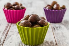 Fresh Chestnuts in Colorful Cups Royalty Free Stock Image