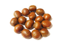 Fresh chestnuts isolated on white background Royalty Free Stock Images